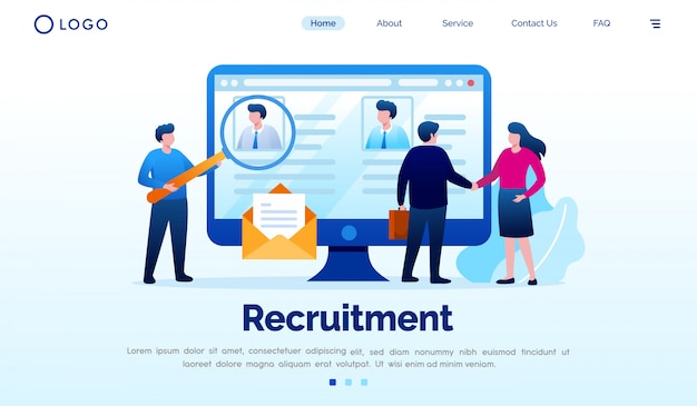 Recruitment landing page website illustration vector template