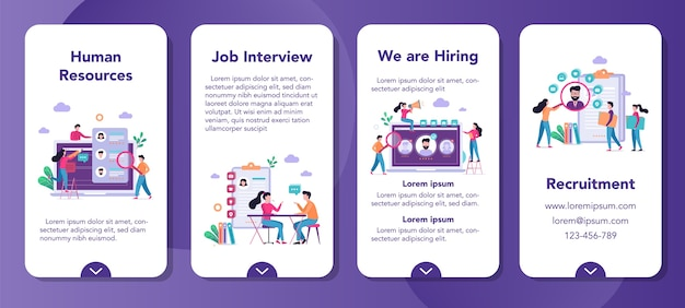 Recruitment mobile application banner set. idea of employment and human resources. find candidate for a job. vacant place, job interview.