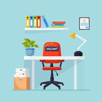 Прием на работу. интерьер офиса с иллюстрацией стола