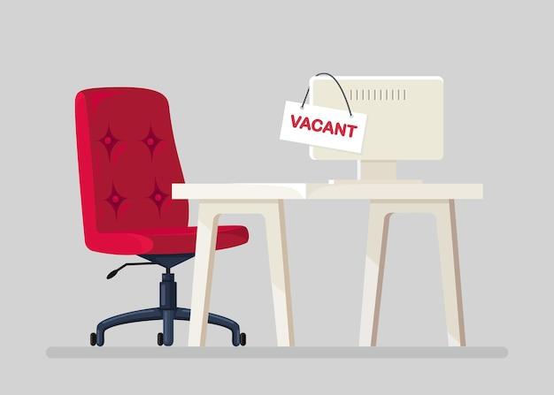 Набор персонала. интерьер офиса с письменным столом, свободным стулом, компьютером. рабочее место рабочего, служащего. человеческие ресурсы, hr. наем сотрудников