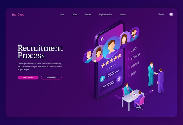 Recruitment process isometric landing page hiring agency human resource online service tiny people at huge smartphone research and interviewing applicant for vacant work place web banner
