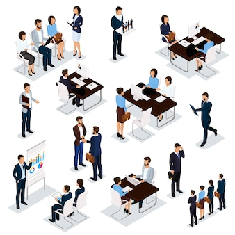 Recruitment process to set isometric business employees on a white background.
