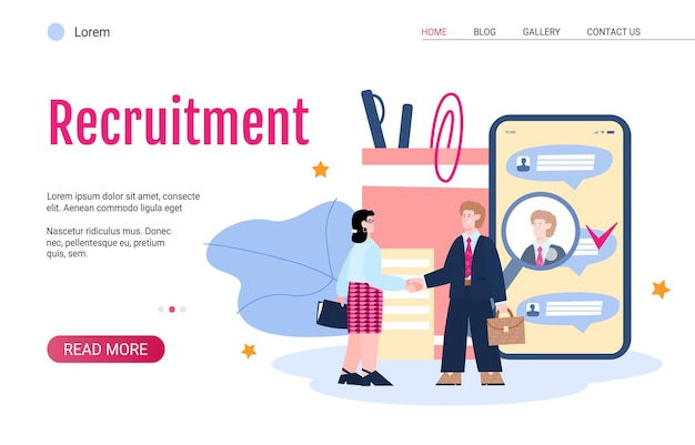 Recruitment web banner with employer and new employee flat vector illustration