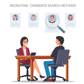 Recruting candidate search methods. interviewing