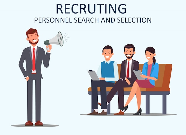 Recruting personnel search and selection. vector.