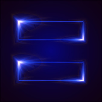 Rectangle blue light vector banner.
