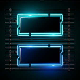 Rectangle blue neon banner design