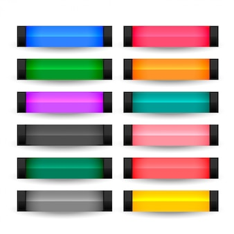 Rectangle buttons set in many colors