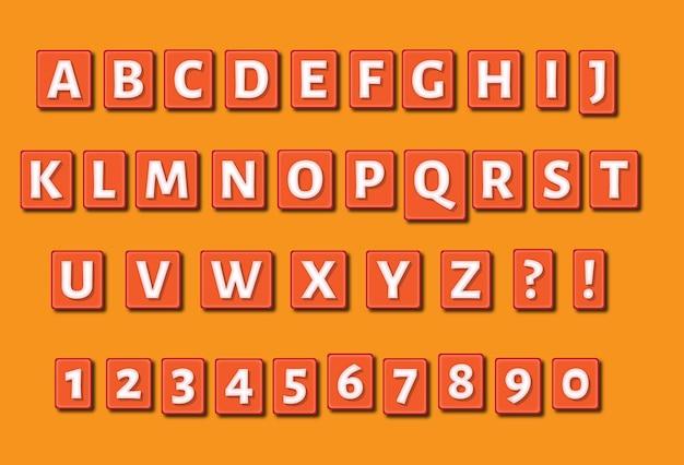 사각형 양각 알파벳 숫자 세트