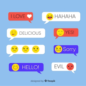 Rectangle flat design messages with emojis