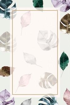 Rectangle frame on metallic split leaf pattern background