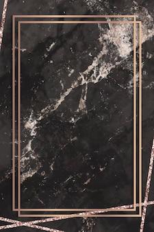 黒い大理石の背景に長方形のフレーム