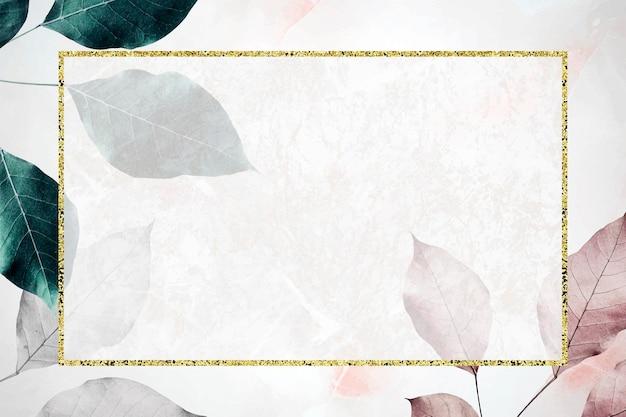 金属の葉のパターンの背景ベクトルの長方形フレーム