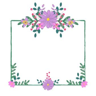 Рамка прямоугольника фиолетовый цветочный букет в карандаше графический стиль