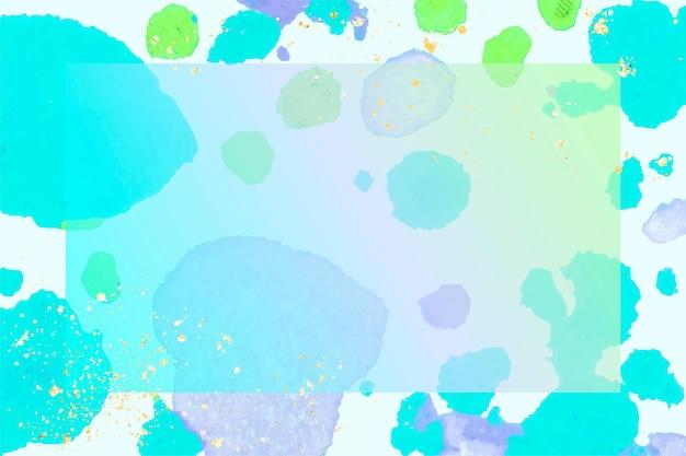 青いワックス溶けたクレヨンアートの長方形フレームベクトル