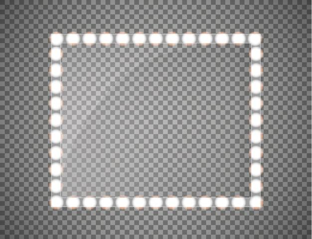 光の効果を持つ長方形のフレーム。 Premiumベクター