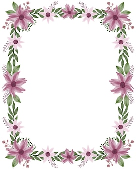 Прямоугольная рамка с фиолетовым цветком и зеленой рамкой из листьев для поздравительной открытки