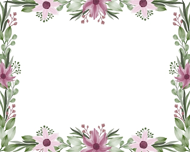 Rectangle frame with purple flower and green leaf border in white background