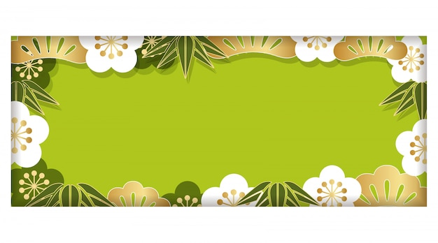 Rectangle frame with traditional japanese pattern and text space, vector illustration.