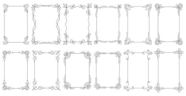 エレガントな装飾ボーダーとフィリグリーの花の装飾が施された長方形のフレーム。