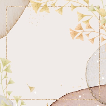 Rectangle ginkgo leaves frame  on neutral watercolor background