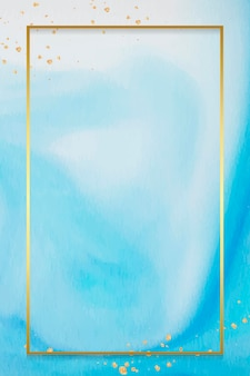 Rectangle gold frame on abstract blue watercolor