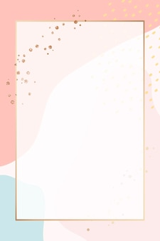 Rectangle gold frame on colorful memphis pattern background