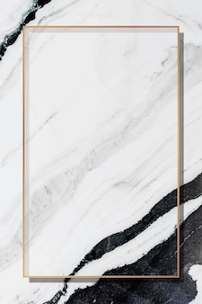 Rectangle gold frame on gray marble background vector
