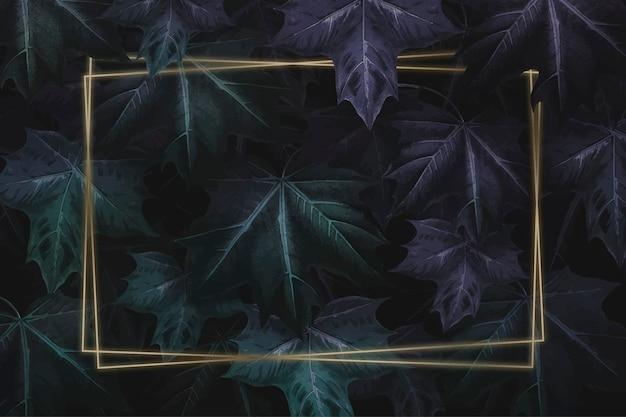 Rectangle gold frame on hand drawn purplish green maple leaf patterned background