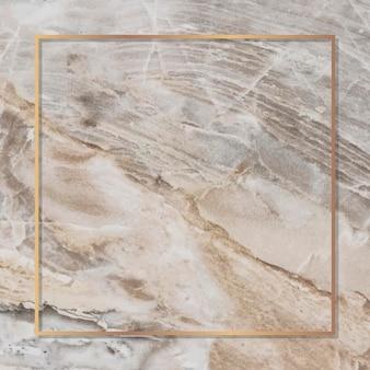 Cornice rettangolare in oro su sfondo di marmo vettore