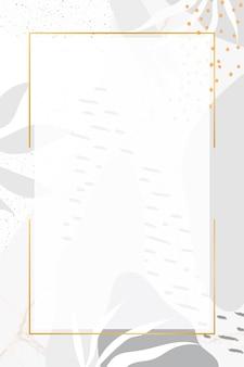 식물 멤피스 패턴 배경에 사각형 골드 프레임