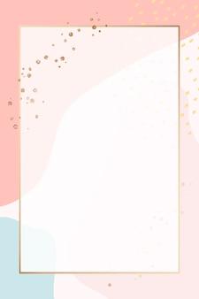 カラフルなメンフィスパターンの背景に長方形のゴールドフレーム