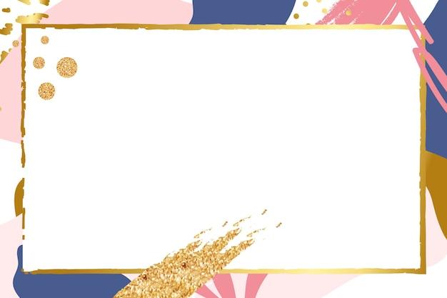 Прямоугольная золотая рамка на красочном узоре мемфиса