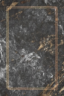 大理石の背景に長方形のゴールドフレーム