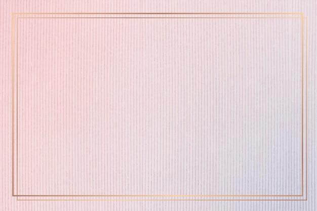 ピンクのコーデュロイテクスチャ背景に長方形のゴールドフレーム