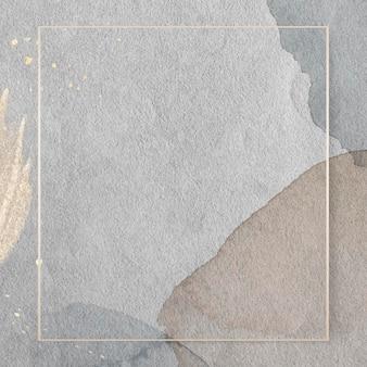 Прямоугольная золотая рамка на акварельном фоне
