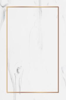 白い大理石の背景ベクトル上の長方形の金フレーム