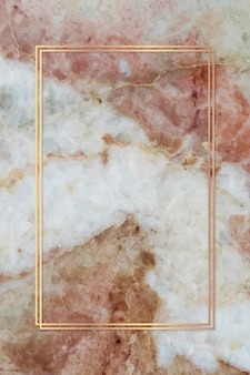 Rectangle gold frame on red  marble background