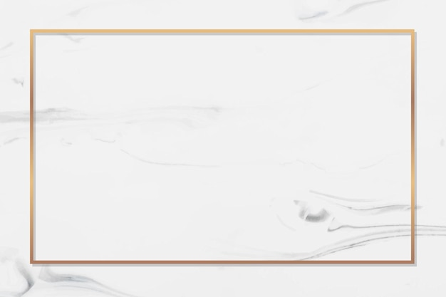 Rectangle gold frame on white marble background vector