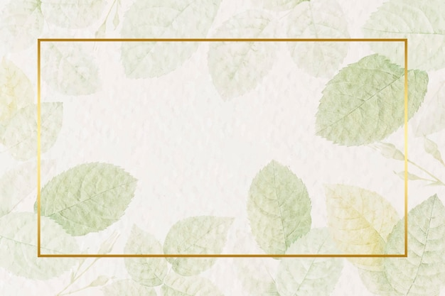 Rectangle gold frame with foliage background