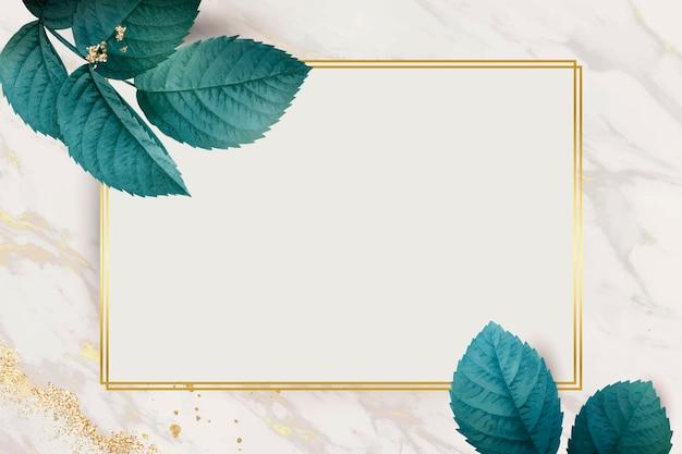 Прямоугольник золотая рамка с листвой узор фона вектор