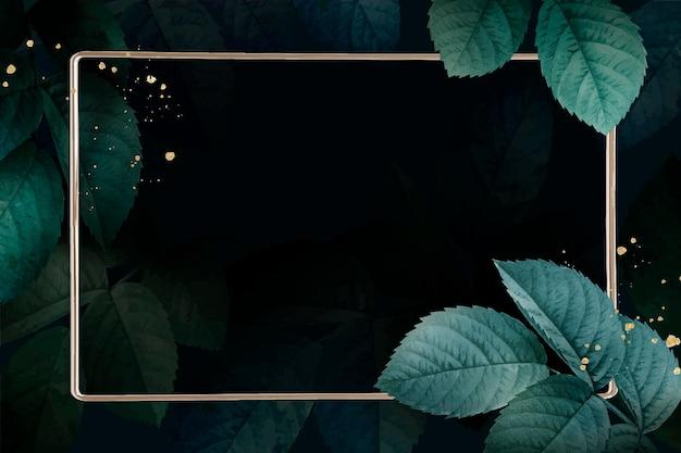 葉のパターンの背景ベクトルと長方形の金フレーム