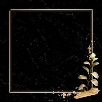 금속 유칼립투스 잎 배경 벡터와 사각형 골드 프레임