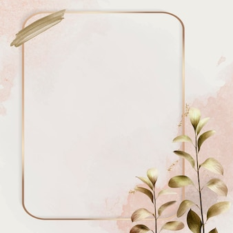 Rectangle gold frame with metallic eucalyptus leaf background vector