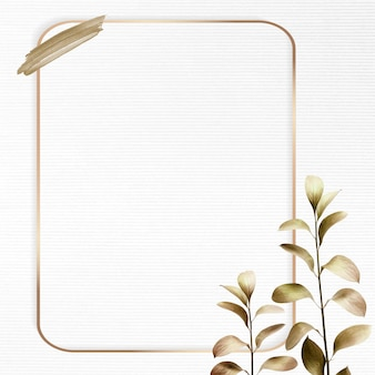 Cornice rettangolare in oro con sfondo metallico foglia di eucalipto