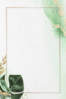 モンステラの葉の背景ベクトルと長方形の金フレーム