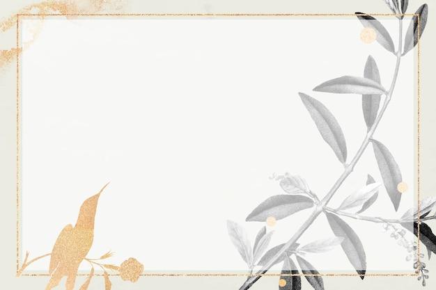 オリーブの枝が付いている長方形の金フレーム