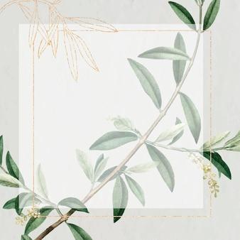 Cornice dorata rettangolare con ramoscello d'ulivo