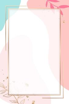 Cornice rettangolare dorata su uno sfondo colorato con motivo memphis