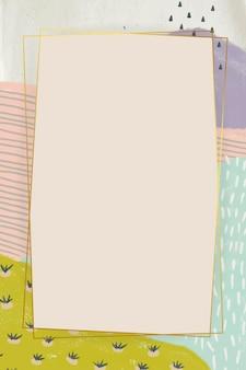 抽象的な風景の背景に長方形の黄金フレーム